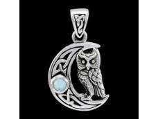 """Подвеска """"Лунная сова"""", серебро, лунный камень."""